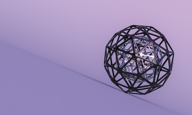 Empty spherical abstract geometric shapes on lilac background. 3d render