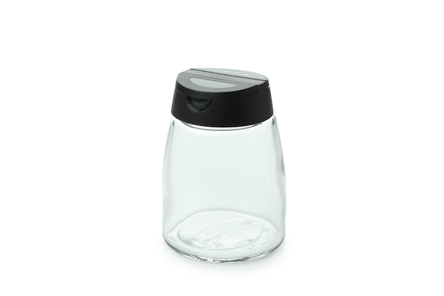 Empty spice bottle isolated on white background
