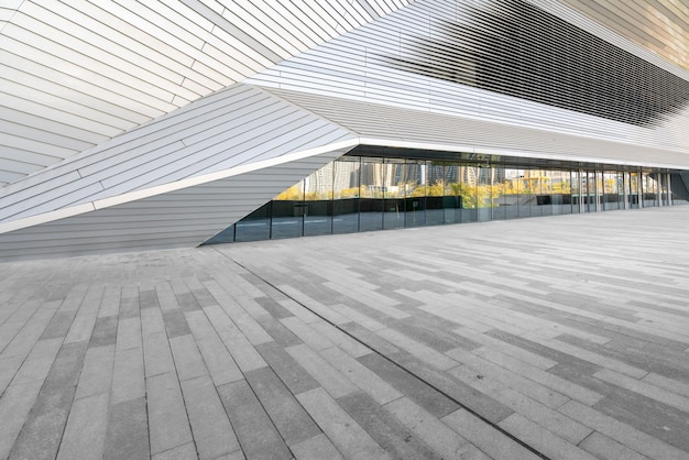 Empty square floor and modern architecture in taiyuan shanxi province in china