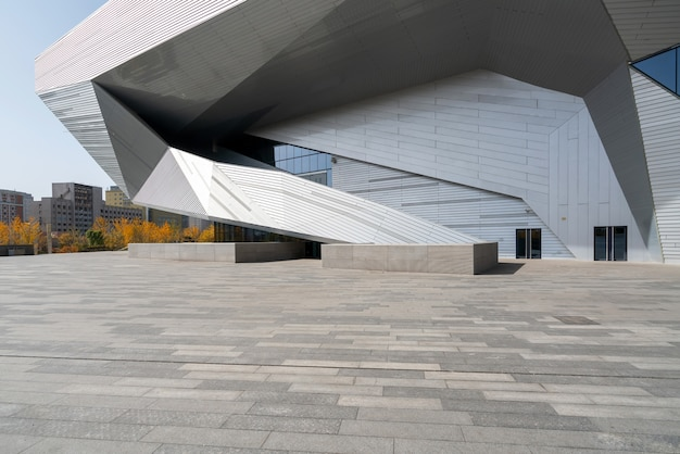 Empty square floor and modern architecture in taiyuan, shanxi province, china
