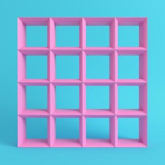 明るい青色の背景に空の正方形の棚