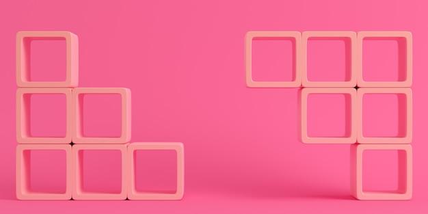 明るいピンクの背景に空の正方形の棚