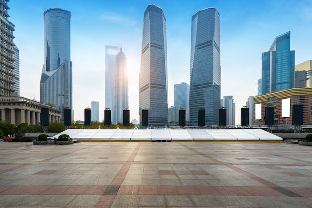 Empty square and skyscraper in shanghai financial center, china
