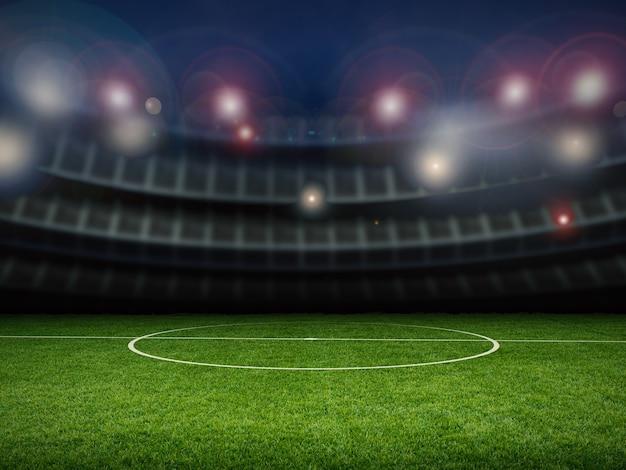Пустой стадион с футбольным полем ночью