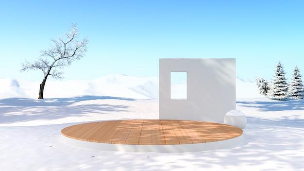눈이 필드 겨울 배경에서 빈 무대 배경 플랫폼