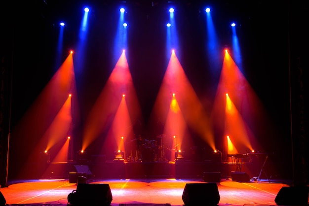 Empty stage. multicolored lights, light show at the concert.