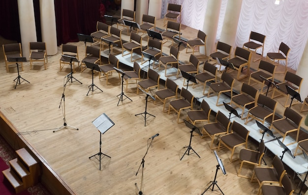 Empty stage with chairs, microphones and music stands before the concert. arranged in a semicircle. top view