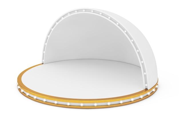 白い背景の上のライトと空のステージ。 3dレンダリング