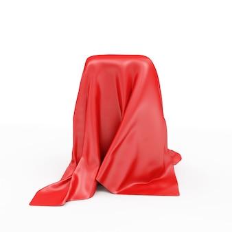 Пустая подставка, покрытая красной тканью изолирована