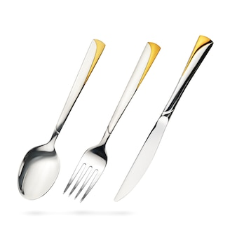 Empty steel table spoon, fork, knife iisolated on white