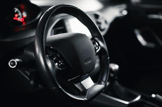 Empty steering wheel in the car car steering column