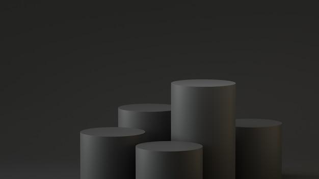 Empty steps cylinder podium on empty background. 3d rendering.