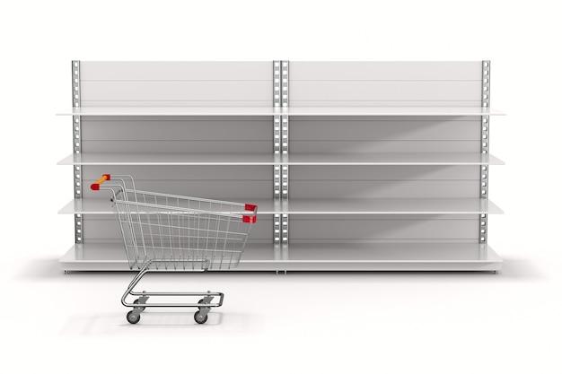 空の店の棚と白い背景の上のショッピングカート。分離された3dイラスト