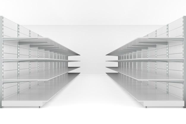 店内の空の店の棚。 3dイラスト