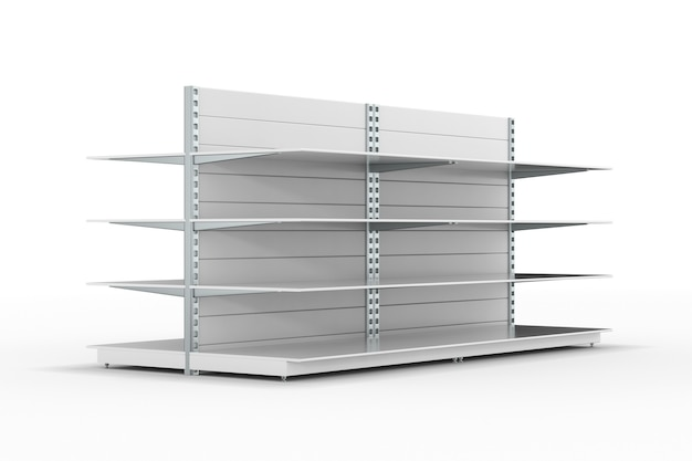白い背景の上の空の店の棚。分離された3dイラスト