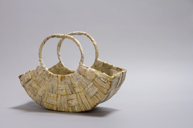 Empty straw wicker basket
