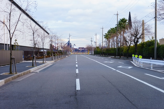 Empty street in the evening at nagoya.