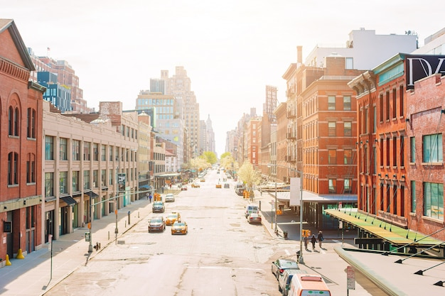 アメリカ合衆国マンハッタン、ニューヨークのウェストビレッジの空の通り