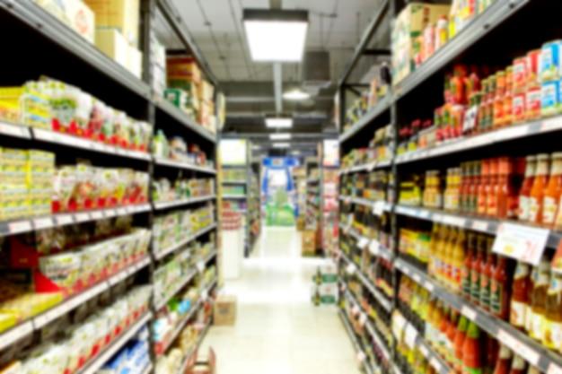 Empty supermarket blurry