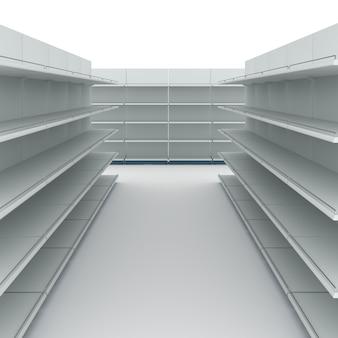 Empty supermarket shelves 3d illustration