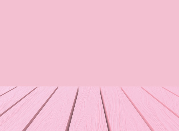 Empty sweet soft pastel pink color wood panel table in montage style wall background.