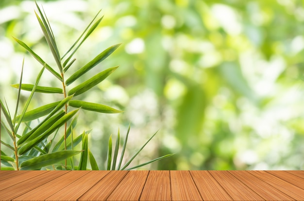 Empty table and  bamboo green leaves .