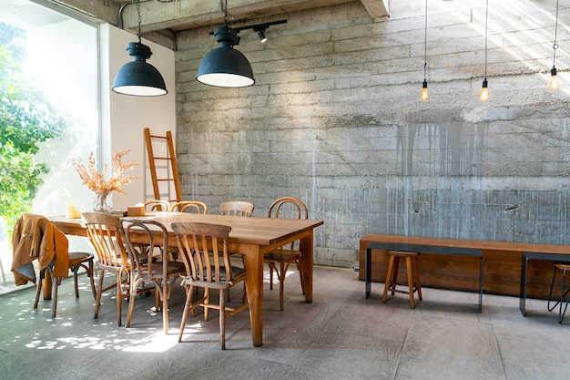 Empty table and chair in coffee shop cafe and restaurant