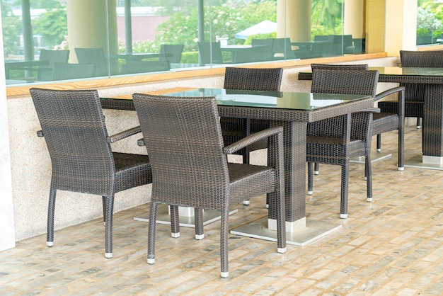 Empty table and chair