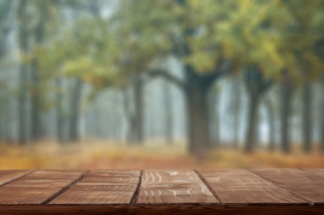Empty table top on autumn background