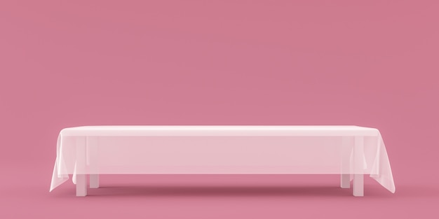 Empty table top with white fabric on pink background