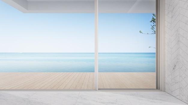 Пустая терраса возле гостиной в современном пляжном домике или роскошной вилле с бассейном