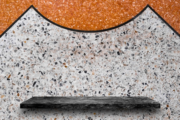 Empty top of black marble stone shelves on terrazzo background, product display
