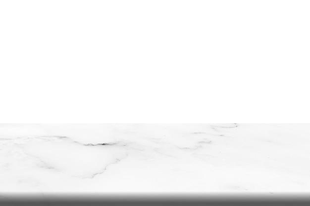 白い背景の上の白い大理石の石のテーブルの空のトップ