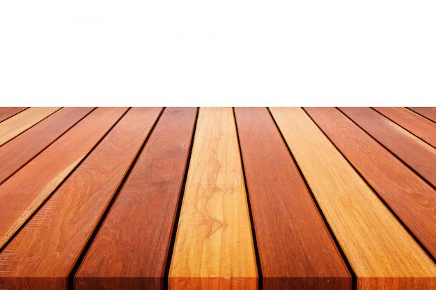 나무 테이블이나 카운터 흰색 절연의 빈 상단