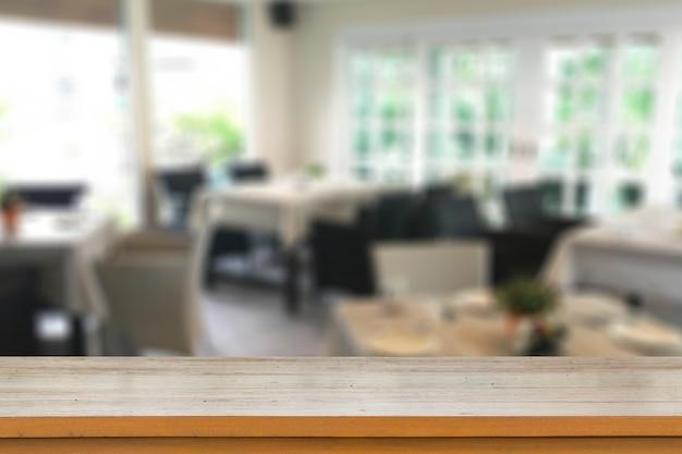 나무 테이블 또는 카운터의 빈 상단