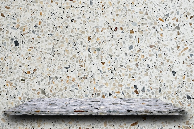 Empty top of polished terrazzo stone shelves on terrazzo background