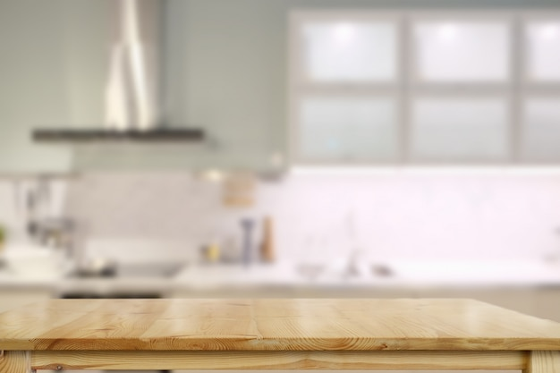 Empty top table for product or food montage with modern kitchen room background.