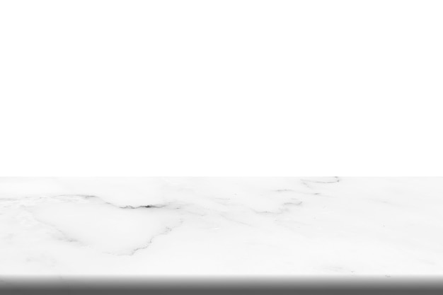 Empty top of white marble stone table on white background