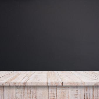 빈 최고 나무 선반 또는 칠판 벽 배경 테이블.