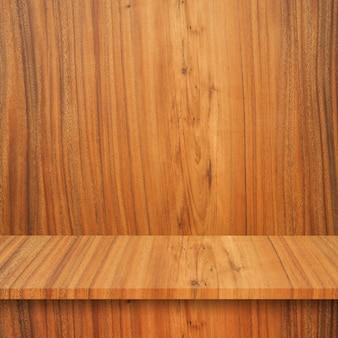 빈 최고 나무 선반 또는 벽 배경에 테이블입니다.