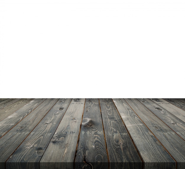 Empty top of wooden table counter isolated on white
