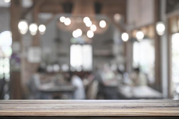 Empty top wooden table in restaurant