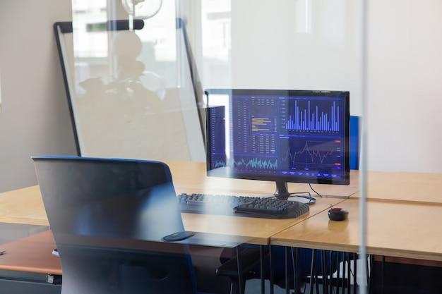 ガラスの壁の後ろに空のトレーダーの職場。フリップチャート付きのオフィスルーム、椅子とコンピューター付きのデスク。モニター上の取引チャート。証券取引所の概念