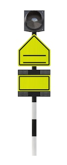 空の交通標識とクリッピングパスと白い背景で隔離のledライト