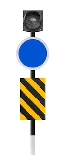 Empty traffic sign and led light isolated on white
