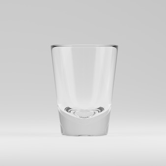 Empty transparent 3d rendered shooters glass for drinking alcohol shots at the bar