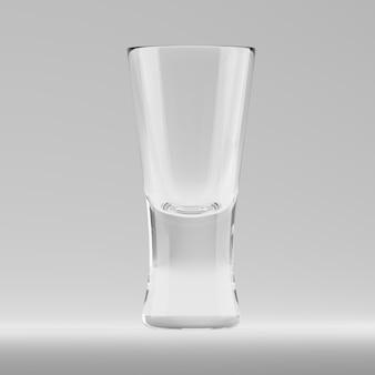バーでアルコールショットを飲むための空の透明な3dレンダリングされたシューターグラス