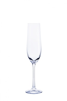 Empty transparent glass for champagne isolated on white.