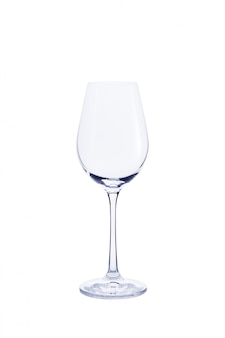 Empty transparent glass for wine isolated on white.