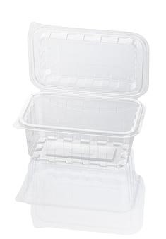 空の透明なプラスチック製食品容器は、クリッピングパスで白で隔離